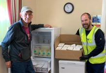 Bishop Auckland Town Council donate a freezer to Woodhouse Close Community Foodbank.