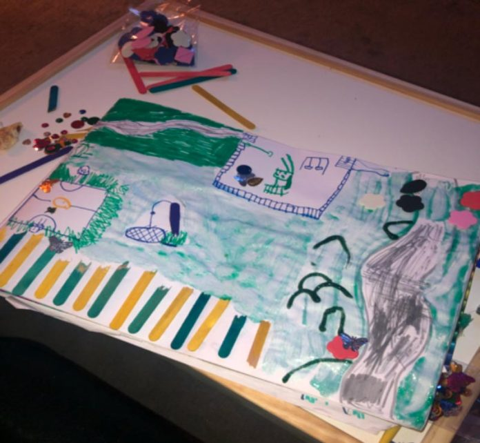 Five-year-old Harrison Lee's winning drawing of his favourite Ferryhill park.