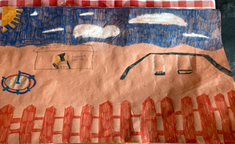Eleven-year-old Summer's winning drawing of her favourite park in Ferryhill.