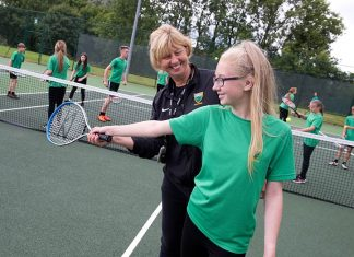 Tennis coaching at Greenfield Community College.