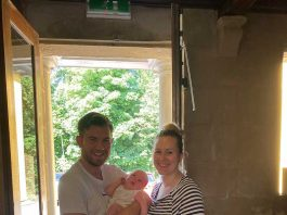 Ryan Todd and Kathryn Farrell with baby Theo.