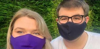 Katie and Mark from the North East Maskateers wearing face masks