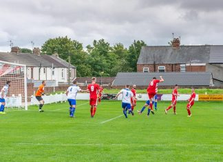 Jack Vaulks scores for Shildon against Sunderland West End.