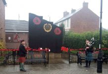 Bishops Pipers sound Reveille during the Chilton Remembrance service.