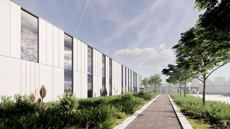 An architect's impression of the approach to the proposed new custody suite at Durham Gate, near Spennymoor.