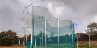 Throw cage at Shildon athletics stadium.